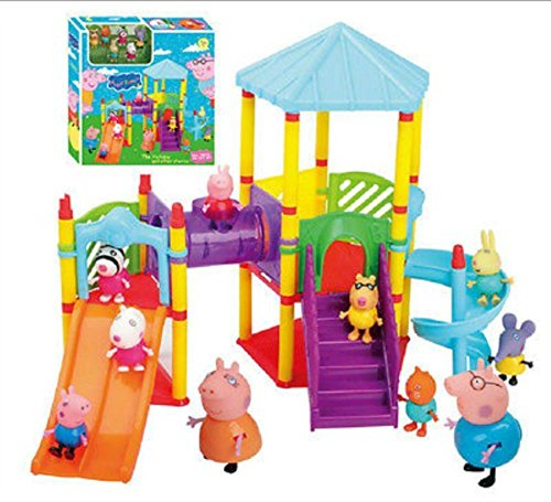 NEW Peppa Pig Big Sliding Amusement Park with 10 Friends Figures Kids Toys Gift (Doll Quad Stroller compare prices)