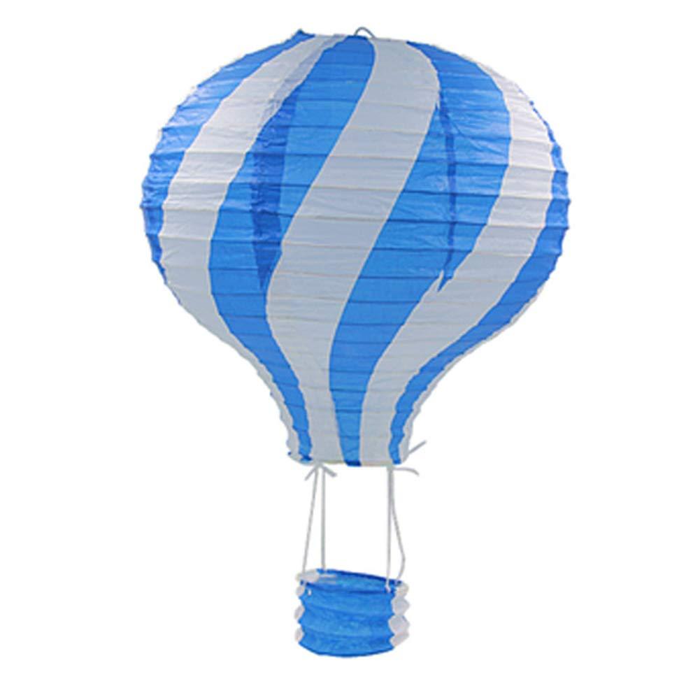 Dds5391 Refined 30cm Striped Hot Air Balloon Paper Lantern Kids Birthday Party Wedding Decor - Blue