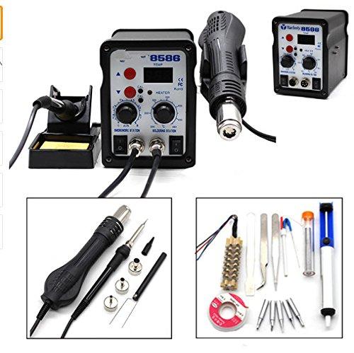 Estación de soldadura 8586 700W ESD Estación de soldadura LED Desoldadora de hierro digital Estación de soldadura BGA Rework Soldador de pistola de aire ...