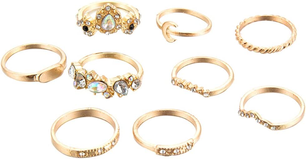 Qiiueen Anillos Mujer, Juego De Colores De Piedras Preciosas De La Luna con Incrustaciones De Oro Vintage De 9 Juegos De Anillos