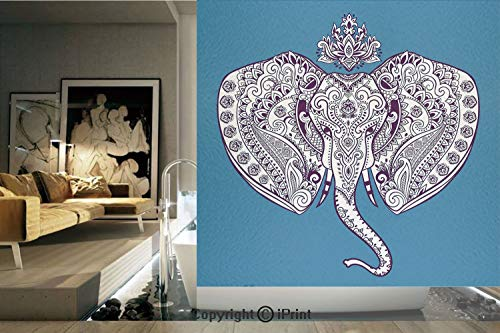 - Decorative Privacy Window Film/Tribal Ethnic Floral Detailed Sacred Prosperity Art Print Decorative/No-Glue Self Static Cling for Home Bedroom Bathroom Kitchen Office Decor Black White and Dark Blue