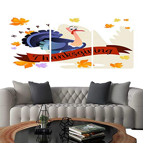 Pictures Paintings on Canvas WallCartoon thanksgiving turkey character autumn holiday bird vector illustration happy greeting text on flyer or card on background with falling leaves. brick wall s]()