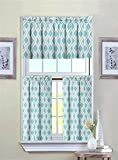 kitchen tier curtains - GoodGram Ultra Luxurious Turquoise Geometric Shabby 3 Piece Kitchen Curtain Tier & Valance Set By