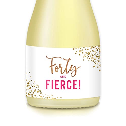 Gift Ideas Womans 40th Fortieth Birthday Party Mini Champagne Wine Bottle Labels Set Of 20 FORTY FIERCE Pink Gold Decals Mom Wife Aunt Sister