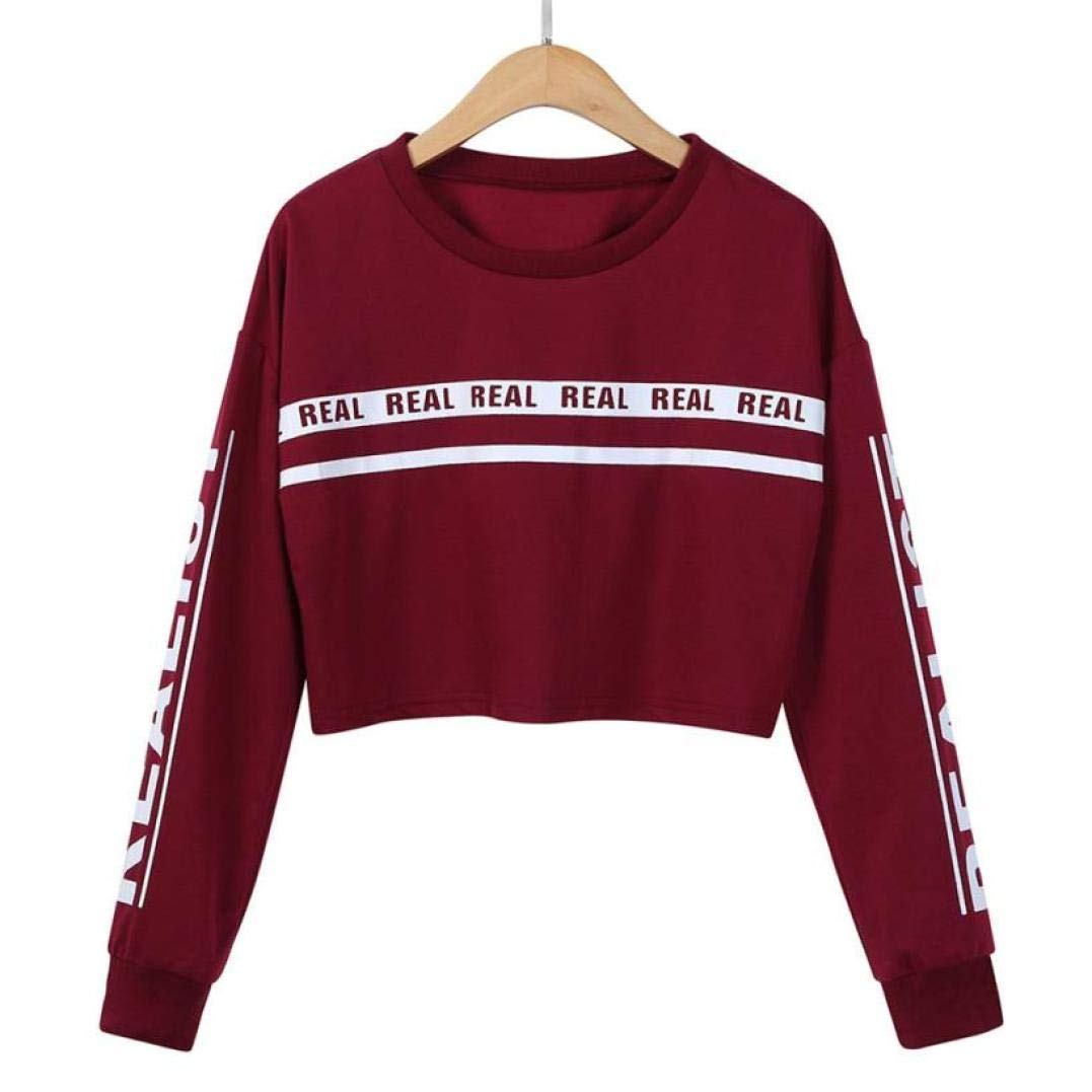 Realdo Clearance Sale!Womens Crop Tops Sweatshirt Solid Letter Long Sleeve Short Pullover Blouse