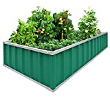 Extra-Thick 2-Ply Reinforced Card Frame Elevated Raised Garden Bed Kingbird Galvanized Steel Metal Planter Kit Box Green 68''x 36''x 12'' Including 8pcs T-Type Tags a Pair of Gloves