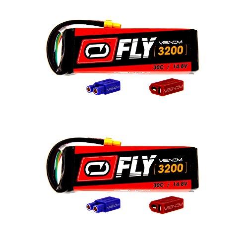 Venom Fly 30C 4S 3200mAh 14.8V LiPo Battery with UNI 2.0 Plug (XT60/Deans/EC3) x2 Packs Compare to E-flite EFLB32004S30