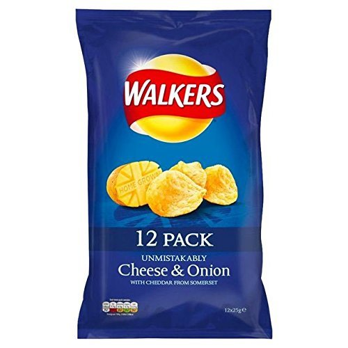 Walkers Cheese & Onion Crisps - 25g x 12 Per Pack
