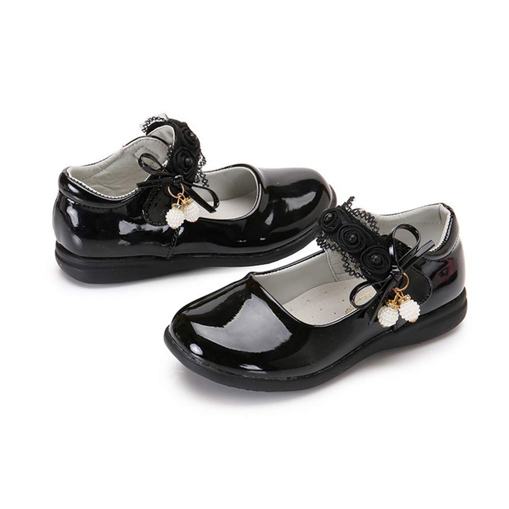 Toddler//Little Kid Girls Leather Bows Design Soft Round Toe Princess Dress Mary Jane Flat Shoes