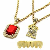 4 piece gold grill - Mens Gold Plated High Fashion Bottom Grillz w/ 2 Pieces Ruby & Jesus Set 4mm 30