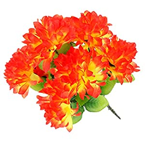Fityle Artificial Silk Chrysanthemum Bouquet for Home Table Decor Cemetery Flowers Decor 92