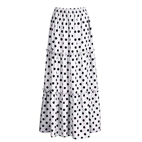 VEZAD Women Fashion High Waist Polka Dot Printed Skirt Loose Ruffled Pleated Skirt ()
