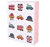 C&AHOME 12 Cube Storage Organizer Portable Kids Wardrobe DIY Closet Bookcase Toy Rack Cabinet with Doors& UK Flag,Pink