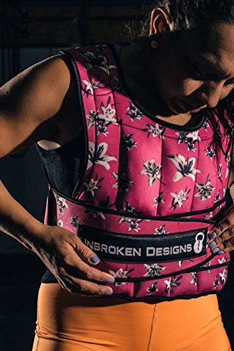 Adjustable Weighted Vest for Fitness Workouts for Men/Women Adjustable, Light Weight Vest, Weight Training Jacket, Neoprene Vest Shell Deep Pink Floral Design, 20lb Weight Vest