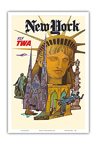 - Pacifica Island Art - New York - Fly TWA (Trans World Airlines) - Statue of Liberty - Vintage Airline Travel Poster by David Klein c.1960s - Master Art Print - 12in x 18in