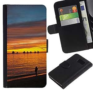 Billetera de Cuero Caso Titular de la tarjeta Carcasa Funda para Samsung Galaxy S6 SM-G920 / Sunset Sea Beautiful Nature 13 / STRONG