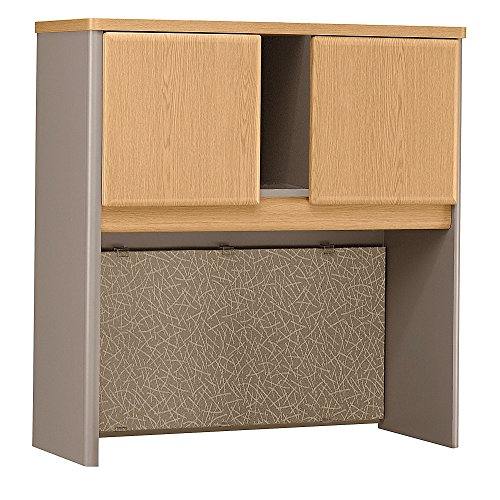 Bush Business Furniture Series A Collection 36W Hutch in Light Oak For Sale