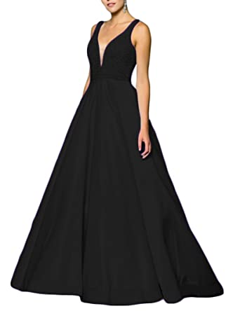 YSMei Womens Long A-line Evening Prom Dress with Pockets Beaded Backless Formal Party Gowns
