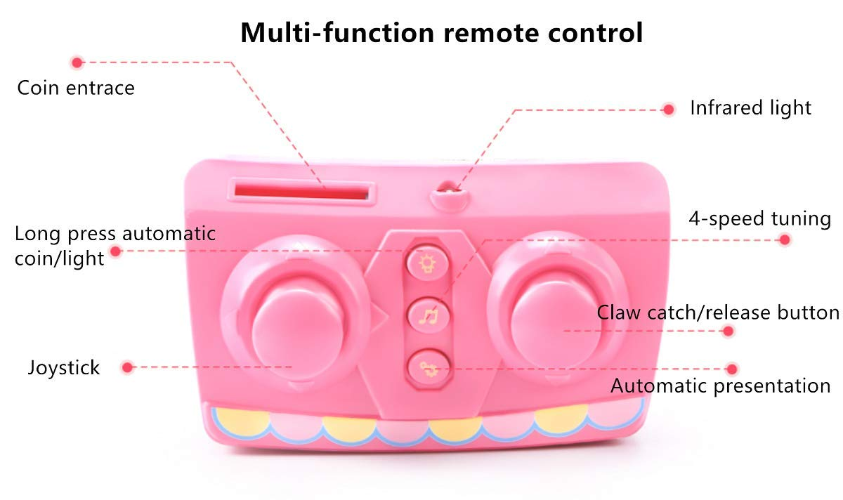 ForBEST Claw Machine Doll Machine with Removable Remote Control, USB Cable, 6 Dolls, Adjustable Sounds and Lights, Best Gift Toy for Kids (Pink) by For BEST (Image #5)