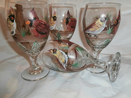 (Hand painted pair of cardinals sitting in a tree. . Pair of cardinals on 4 ice tea short stemmed goblets.)