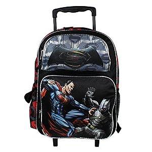 DC Batman v Superman Movie Large 16 Back to School Black Rolling Backpack-Black