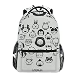 Women/Man Canvas Backpack Special Collection Of Animal Icons Zipper College School Bookbag Daypack