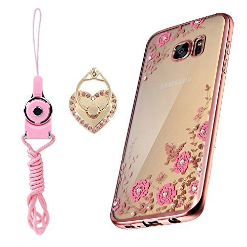 Samsung Galaxy S7 Case, [LuckQR] Ultra Thin Clear TPU Artificial Diamond Flower Soft Case With Attachable Heart Ring Stand and Neck Lanyard, Full Body Protective Case For For Galaxy S7 SM-G930