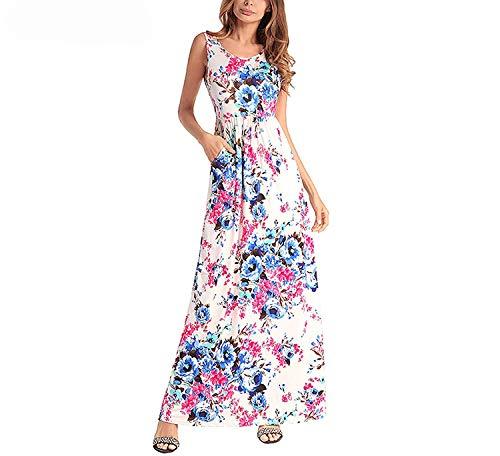(Summer Maxi Sex Print Sundress Boho Beach Dresses Vestidos Long Tunic T Dresses Vestidos Verano 2019,Medium,Beige)