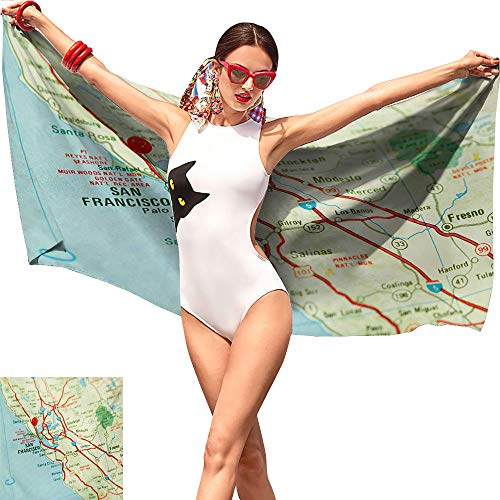 Williasm Map Boys Beach Towel,Vintage Map of San Francisco Bay Area with Red Pin City Travel Location Pale Blue Pale Green Red,Tropical Beach Towel W12 x L35 ()
