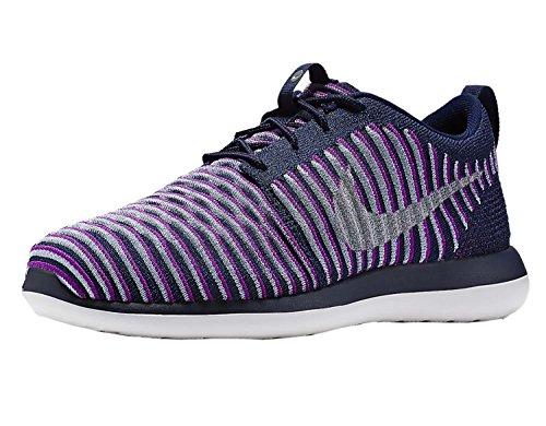 Nike Kids Roshe Two Flyknit (gs) Scarpe Da Corsa Viola Chiaro / Argento Metallizzato-blu Grigio