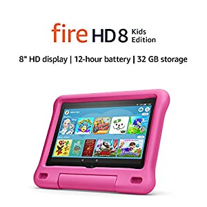Fire HD 8 Kids tablet   for ages 3-7   8″ HD display, 32 GB   Pink Kid-Proof Case