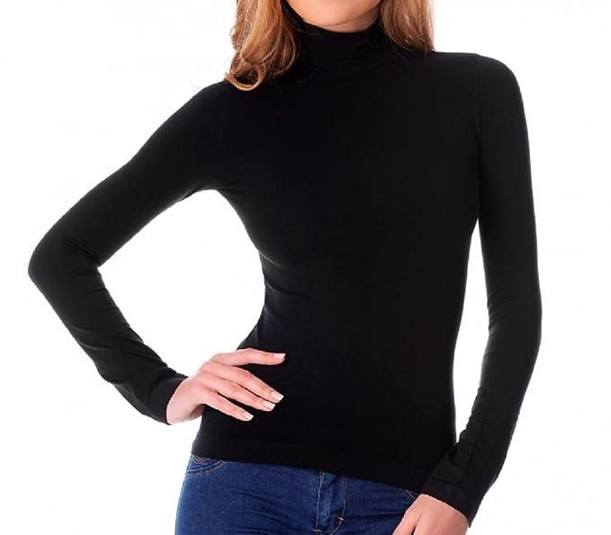 Fair Maglia Donna Lupetto Termico Invernale Collo Alto Slim Fit Interno  Felpato Nero  Amazon.it  Abbigliamento 346654bd7e08
