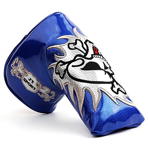 Crtystal Leather Skull Head Embroidery Style Golf Club Headcover Set Protector for Taylormade Titleist Callaway Ping Cobra Mizuno (Blue Blade Putter Cover) ()