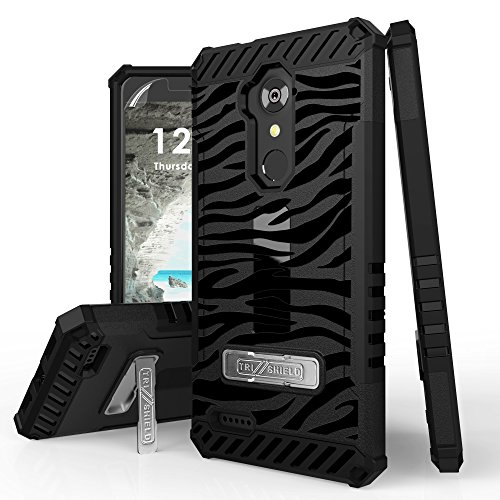 ZTE Blade X Max, Max XL, Blade Max 3, Zmax Pro, Grand X Max 2, Imperial Max, Max Duo Case, Trishield Durable Phone Cover With Detachable Lanyard Loop And Kickstand Card Slot - Black (Zebra Design Protector Case)