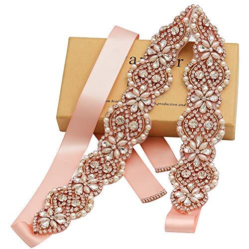 Gold Rhinestone Pearl - Yanstar Wedding Bridal Belts In Rose Gold Rhinestone Crystal Pearl With Blush Sash For Wedding Dress Prom Gown-17.7In1.6