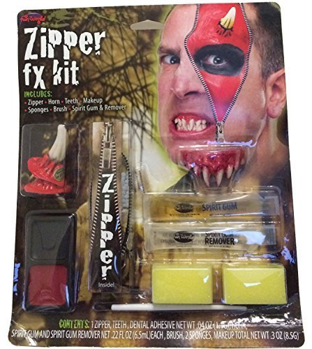 BLOODY HORROR ZIPPER FX FACE MAKE UP KIT DEVIL HUMAN EFFECT HALLOWEEN COSTUMES BLOOD GORE THEATRICAL HORROR WOUNDS by Unknown