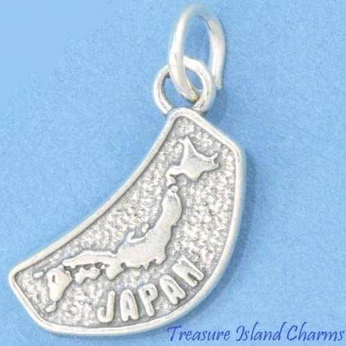 ''Japan Country MAP .925 Solid Sterling Silver Charm 17mm 11/16'''' New'' Ideal Gifts, Pendant, Charms, DIY Crafting, Gift Set from Heart by Wholesale Charms