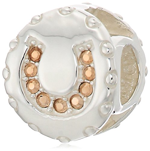 Chamilia lucky horseshoe - rose gold swarovski crystal charm (Pugster Horse)
