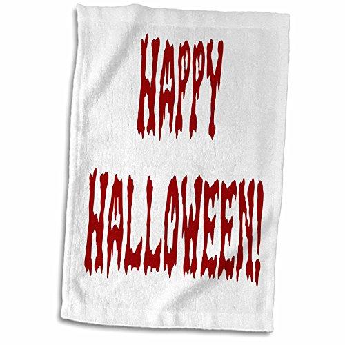 3dRose Sandy Mertens Halloween Words - Bloody Gore Happy Halloween - 12x18 Hand Towel -
