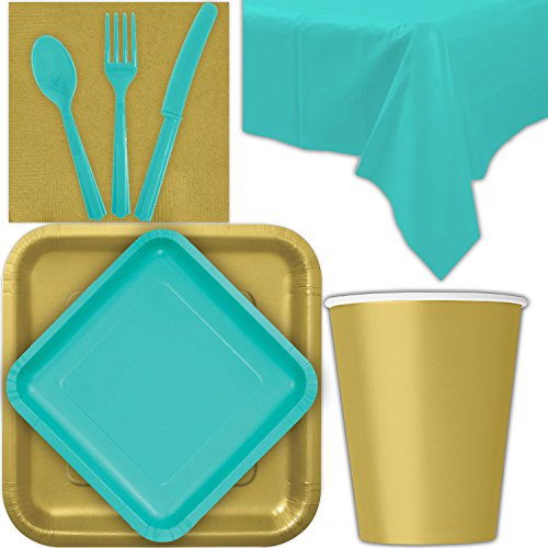 - Disposable Party Supplies for 28 Guests - Gold and Caribbean Teal - Square Dinner Plates, Square Dessert Plates, Cups, Lunch Napkins, Cutlery, and Tablecloths: Premium Quality Tableware Set