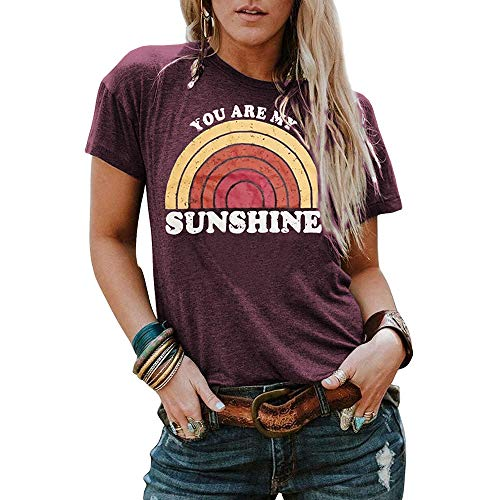 8f4bd10c44 Pibilu You are My Sunshine Women's T Shirt Rainbow Graphic Letter Print  Tees Short Sleeve O Neck Casual Tops