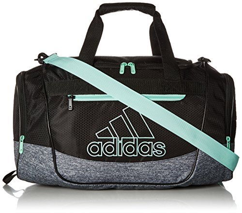 adidas Unisex Defender III Small Duffel Bag, Black/ Onix Jersey/ Clear Mint Green, Small