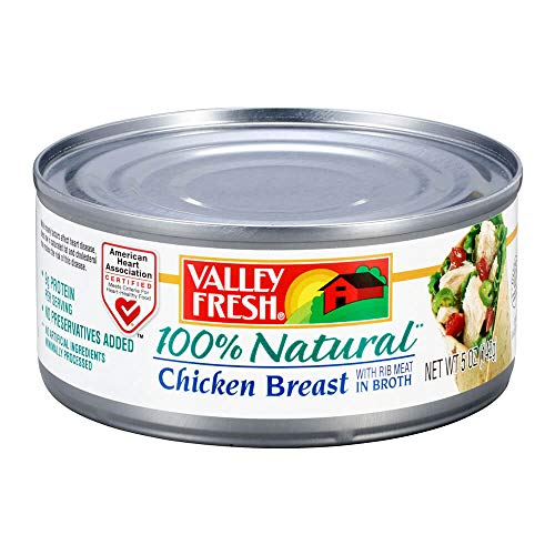 Valley Fresh 100% Natural Canned Chicken Breast with Rib Meat in Broth, 5 Ounce 100% Natural Chicken Breast