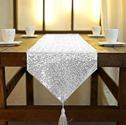 Silver Sequin Elegant Tassel Table Runner