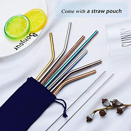 Metal Straws, Colorful Titanium Drinking Straws with Cleaning Brushes for Smoothies, Lemnoade, Cocktails, for 20oz/ 30oz Yeti Tumbler Ozark Trail Ramblers Cups (Titanium) by Billion Xin (Image #6)