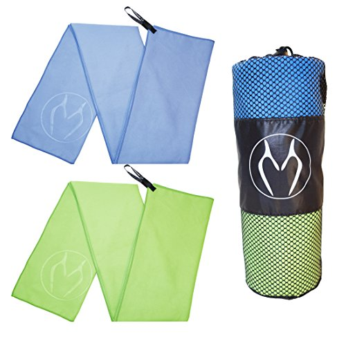 ZOOMUP 2PACK Large Size Sports Microfiber Towel (40 X 20) Extremely Absorbent, Compact, Soft, Quick-Drying, Odor-Free. Designed for Sports,Travel,Gym,Workout, Swimming,Fitness&More(Blue/Green)