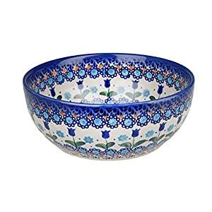 Classic Boleslawiec Pottery Hand Painted Ceramic Salad Bowl 950ml, 073-U-006