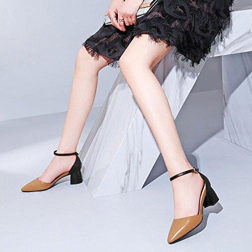 Asymétriques DKFJKI Cuir Sauvage Brown de à Chaussures Hauts Mi Chaussures de Talons Vêtements Saison Chaussures en Talon Femmes Les à Jours Mode Asakuchi pour Tous 7RqX78r