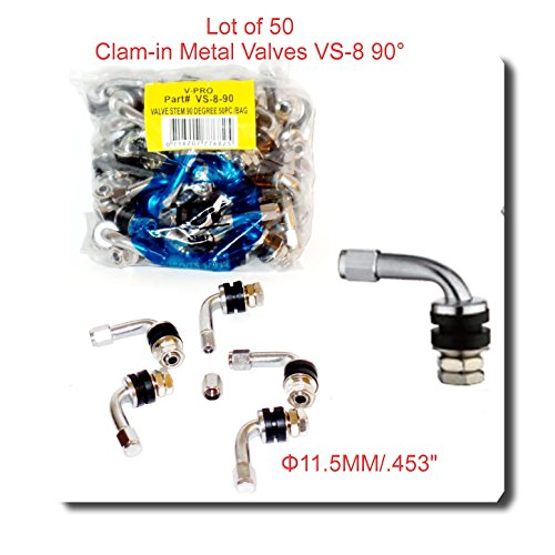 Wholesales Price (50 Kits) VS8 90 DEGREE ANGLE METAL/CHROME TIRE VALVE STEMS HIGH PRESSURE BOLT IN (Pressure Pro Tire Monitoring System Best Price)
