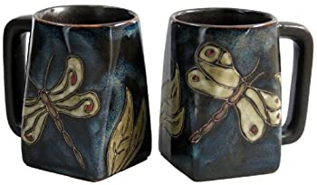 Set Of Two (2) MARA STONEWARE COLLECTION - 12 Oz Coffee or Tea Cup Collectible Square Bottom Mugs - Dragonfly / Insect Design